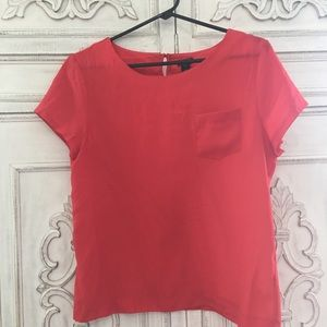 J Crew Red Silk Blouse